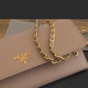 Prada clutch purse or wallet on chain. good cond